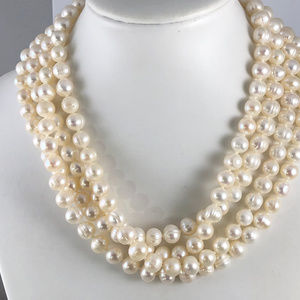 Vintage Opera Length 64 In 8MM Hand Knotted Pearls